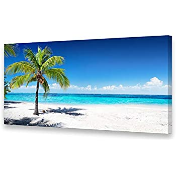 Baisuart Seascape Large Canvas Wall Art Summer Ocean Waves Coconut Trees on Sands Beach Painting Sea Nature Pictures for Living Room Home Office Wall Decor Artwork Blue