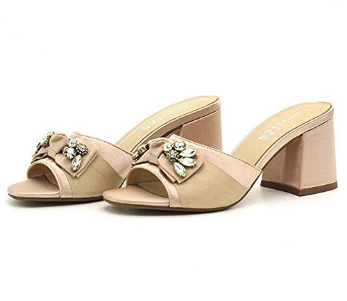 KUKI Mode Fischkopf High Heels Diamant Bogen Damen dick mit coolen Sandalen , US7.5 / EU38 / UK5.5 / CN38