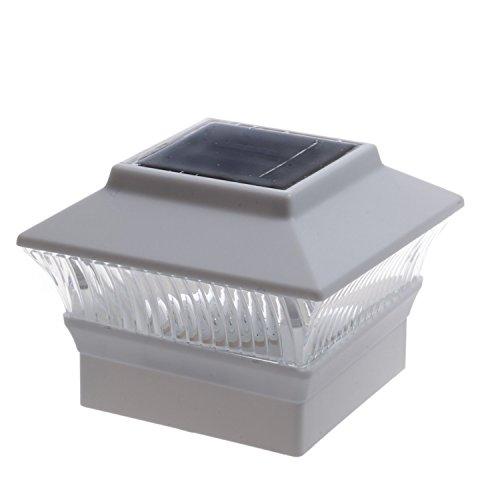 Black/Brown/Silver/White 4 x 4 Solar Post Deck Cap Fence Light PVC Vinyl (White - 12 Pack)