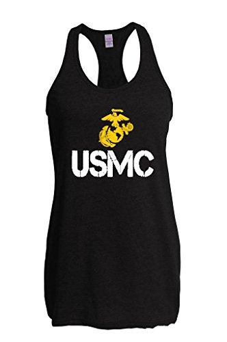 Marine Corps Tank - Blue Tees USMC US Marine Corps People Women's The Jersey Racerback Tank Clothes X-Large Black