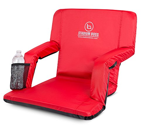 Stadium Boss Recliner Stadium Seat for Bleachers, Benches, Lawns, Backyard, Camping & Beach – Padded Sport Chair, Cushion Backs & Armrest – 6 Reclining Positions – Portable Carry Straps – Red