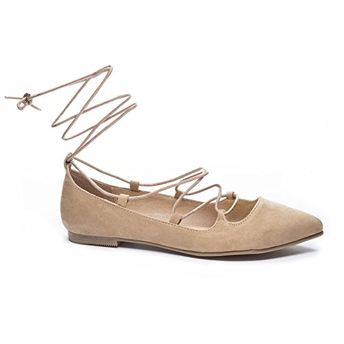 Chinese Laundry Women's Endless Summer Ghillie Flat, Camel Suede, 6.5 M US