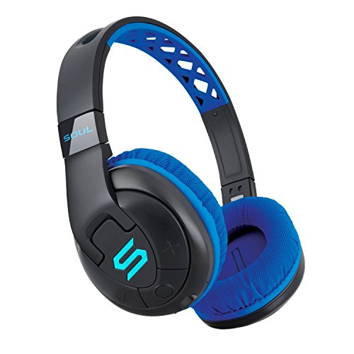 SOUL Electronics X-TRA Performance Bluetooth 4.0 Wireless Over-Ear Headphones for Sports. 24 Hours Playtime for Running and Workout and Gym. Support Apple iPhone and Android – Blue