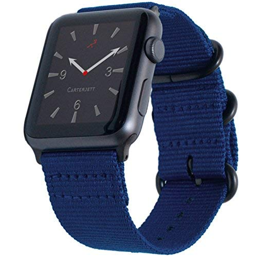 Carterjett Extra Large Compatible Apple Watch Band Men 44mm 42mm XL Long Woven Nylon iWatch Band Replacement Strap Gray NATO Hardware Compatible Apple Watch Nike Sport Series 4 3 2 1 (42 44 XXL Blue)