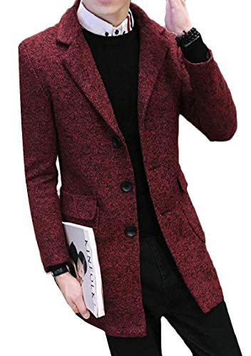 Breasted Single Wool Classic Men's Overcoat Gocgt Trench Coat Blend Red Winter P1Z6q7