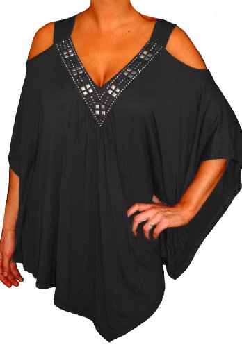 Funfash Plus Size Clothing Women Angel Sleeves Beads Tunic Top Shirt Made In USA (1X, Black) (Made Usa In Women Clothing)