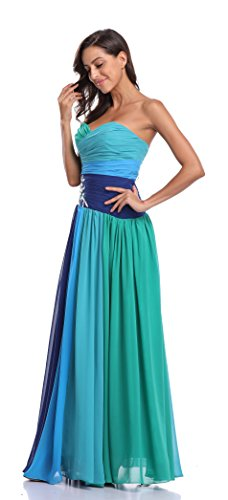 Strapless Rhinestone - SZIVYSHI Strapless Rhinestone Chiffon Bridesmaid Evening Party Dress