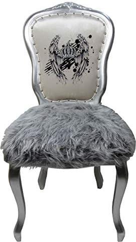 Harald Glööckler Pompöös by Casa Padrino baroque dining chair faux fur silver/white crown with rhinestones - Pompööser Baroque chair designed