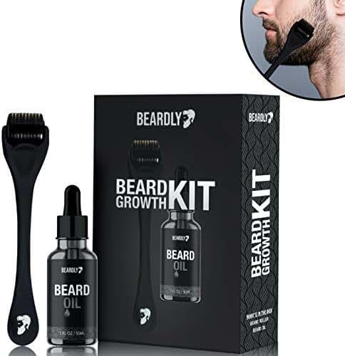 BEARDLY Beard Growth Kit - .2MM Derma Roller w/Beard Oil for Facial Hair Growth for Men - Grooming Tool to Help You Grow a Beard - Facilitate New and Old Hair Growth
