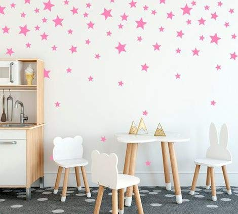 Wallpaper Kids Pink (Wall Decals Baby Pink Stars for Kids Room +