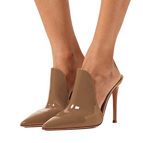 Scarpe Scorrono Statunitense Tacchi 15 Alti Scivolare 4 Cm 12 Lucida Brown Stiletto Mulattiere Pantofole Fsj Su Donne Sandali Dimensioni AxPwRqFIF