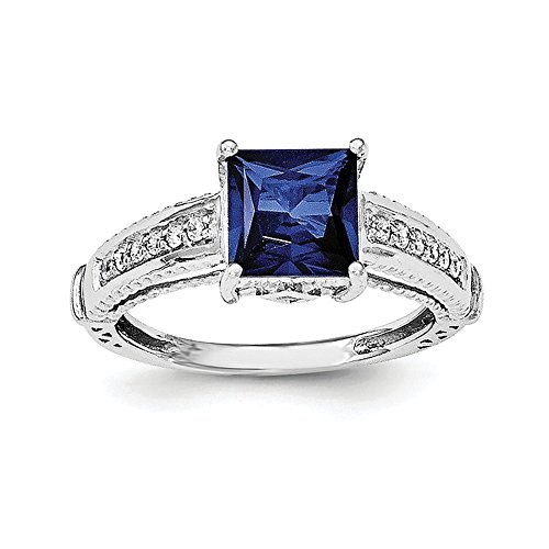 Sterling Silver Synthetic Blue Sapphire and Cubic Zirconia Ring - Size 8 ()