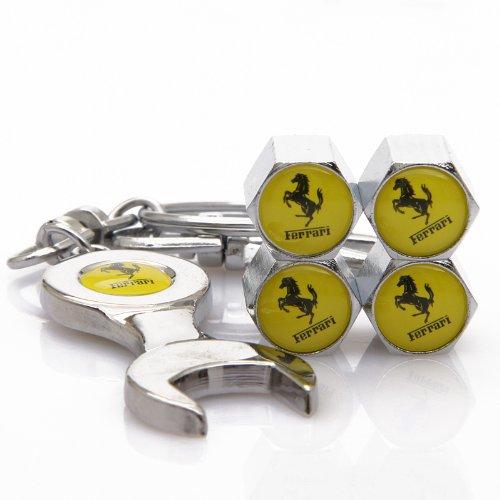 Yellow Ferrari Tire Valve Caps with Bonus Wrench Keychain