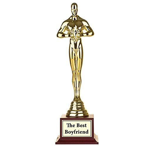 Funny Personalized Statue Award - Gold Looking Gag Trophy - The Best Dad, Mum, Friend... Write Your Text and (Mayo Autograph)