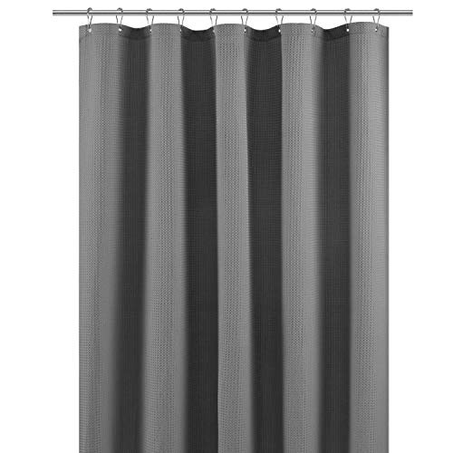 Shower Curtain Fabric 60 x 72 inch, Waffle Weave, Hotel Collection, 230 GSM Heavy Duty, Water Repellent, Machine Washable, Gray Pique Pattern Decorative Bathroom Curtain
