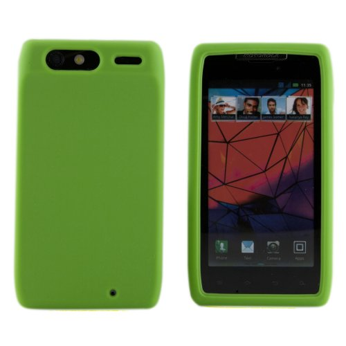 Boho Tronics TM Smooth Durable Practical Silicone Soft Rubber Gel Case Cover Skin - Compatible with Motorola Droid RAZR XT910 XT912 - Green