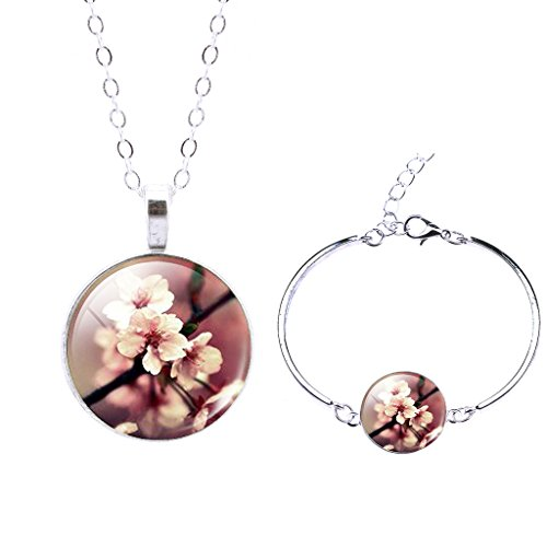 Jiayiqi Women Pink Peach Blossom Fine Jewelry Set Glass Time Gem Dangle Necklace Flower Bracelet - Blossom Dangle
