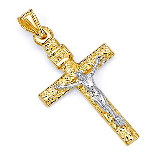 GoldenMine Fine Jewelry Collection 14k Two Tone Gold Crucifix Cross Religious Charm Pendant(40mm X 26mm)