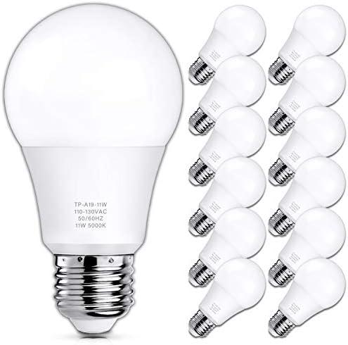 A19 LED Light Bulbs, 100 Watt Equivalent LED Bulbs, 5000K Daylight White, 1100 Lumens, Standard E26 Medium Screw Base, CRI 85+, 25000+ Hours Lifespan, No Flicker, Non-Dimmable, Pack of 12