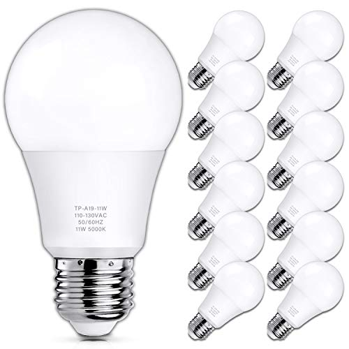 A19 LED Light Bulbs, 100 Watt Equivalent LED Bulbs, 5000K Daylight White, 1100 Lumens, Standard E26 Medium Screw Base, CRI 85+, 25000+ Hours Lifespan, No Flicker, Non-Dimmable, Pack of 12