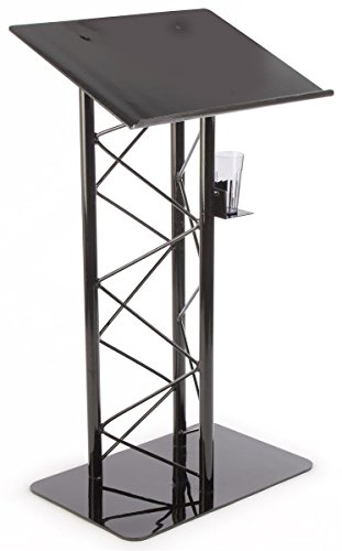 Lectern Speaker Stand (Displays2go Truss Lectern Podium Stand with Truss Design, Built-In Shelf, 27 x 48 x 18.5 Inches - Aluminum and Steel Construction, Black (LCTTRSBLK))