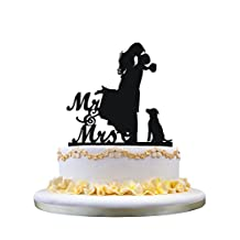 Cake Topper with Dog Pet ,Mr & Mrs Bride and Groom Silhouette funny wedding cake topper