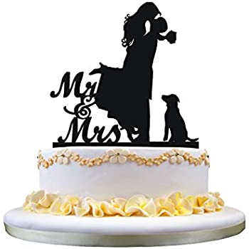 Amazon.com: LOVENJOY with Gift Box Kissing Bride Groom and Dog ...
