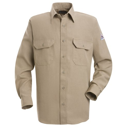 Bulwark Flame Resistant 4.5 oz Nomex IIIA Regular Uniform Shirt with Tailored Sleeve Placket, Topstitched Cuff, Tan, X-Large