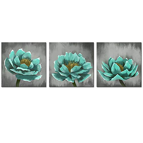 - sechars - 3 Piece Flower Canvas Wall Art Vintage Teal Blue Lotus Floral Painting Prints Modern Home Living Room Decoration Gallery Canvas Wrapped Ready to Hang