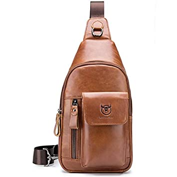 BULLCAPTAIN Sling Leather Backpack Multi-Pocket Travel Shoulder Chest Bag Crossbody Daypack for Men with Earphone Hole XB-121