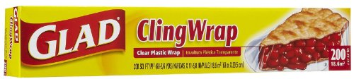 Glad Cling Wrap Clear Plastic Wrap - 200 sq ft - 3 - Ft 200 Roll Sq