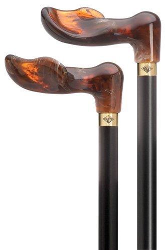 Palm Grip Hardwood Cane Black, Amber Acrylic Handle  -Affordable Gift! Item #DHAR-9786800