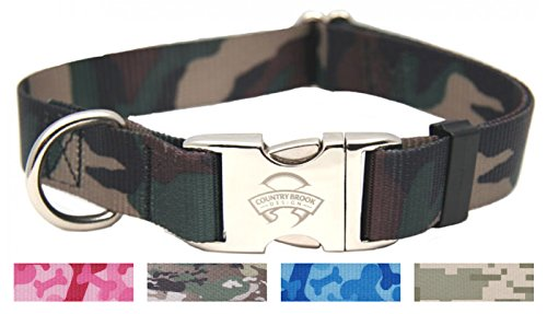 Country Brook Design Woodland Camo Premium Dog Collar - Large ()