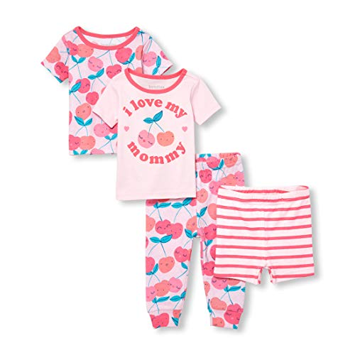 The Children's Place Baby Girls 2 Pack Novelty Printed Variety Pajama Set, Pink Admirer, 4T