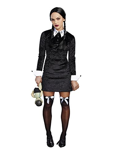 The Addams Family Costumes Wednesday (Dreamgirl Women's Friday Velvet Dress Halloween Costume, Black/White, Medium)