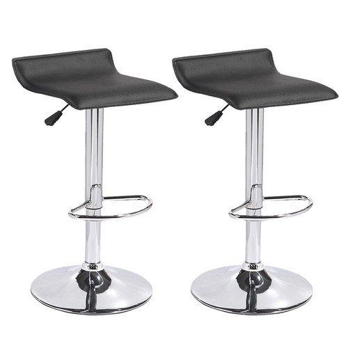 Mecor Leather Barstools Adjustable Swivel Bar Chairs Set