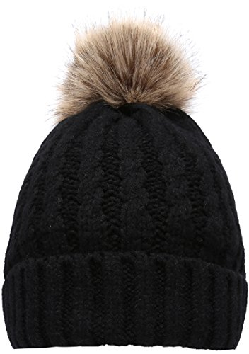 NEOSAN Women's Winter Ribbed Knit Faux Fur Pompoms Chunky Lined Beanie Hats Rope Black