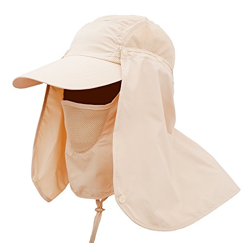 (Summer Outdoor Sun Protection Fishing Cap Camping Jungle Fishing 360 Degree UV Protection Sun Block Hat Folding Visor Nylon Cap Mesh Bucket Flap Hats)