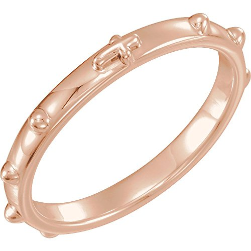 (Bonyak Jewelry 14k Rose Gold Rosary Ring - Size 8)