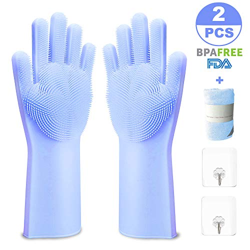 Magic Silicone Gloves with Wash Scrubber, Reusable Brush Gloves Kitchen Tool for Cleaning, Dish Washing, Washing The Car, Pet Hair Care, Include 1Microfiber Cloth, 2Self Adhesive Hook (Blue, 1 Pair) (Magic Gloves 1)