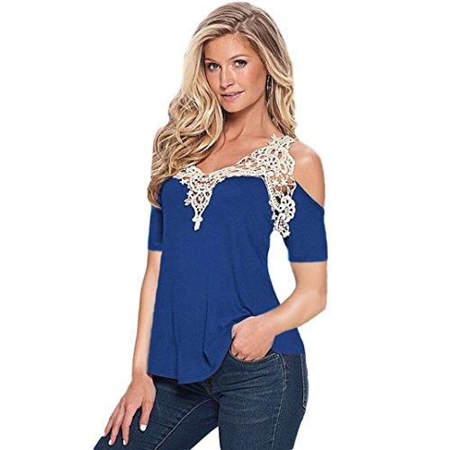 Longues Floral ManadlianFemme Shirt Top Bleu Slim Shirt Épaule en Dentelle Manches Shirt Sexy T Nue Blouse Femmes wXqFOEnB
