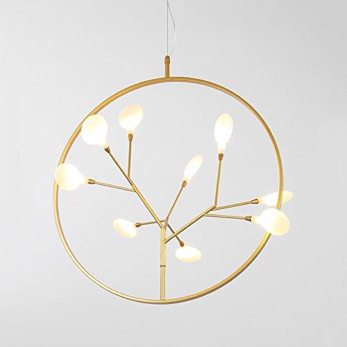 (Postmodern Designer 9-head Fireflie G4 LED Round Plating Copper Pendant Lamp Nordic Bedroom Restaurant Dining Living Room Cherry Branch Decorative Chandelier)