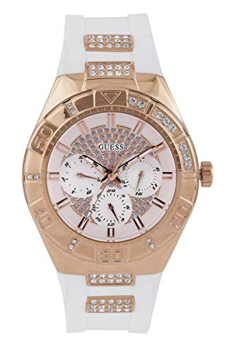 GUESS Women's U0653L4 Sporty Rose Gold-Tone Stainless Steel Watch with Multi-function Dial and White Strap Buckle ()