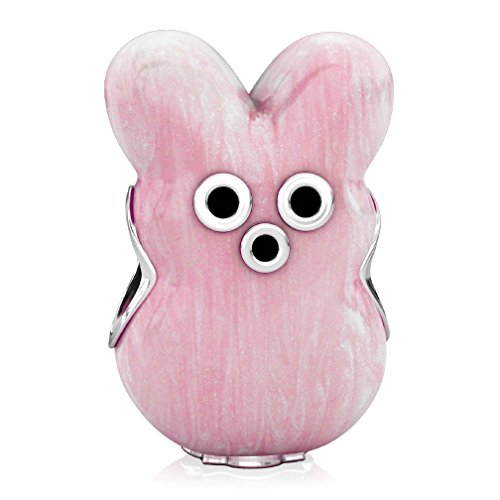 Marshmallow Peep Costumes (BELLA FASCINI Bunny Marshmallow Style Easter Bead Charm - 925 Silver - Fits European Bracelets - Pink)