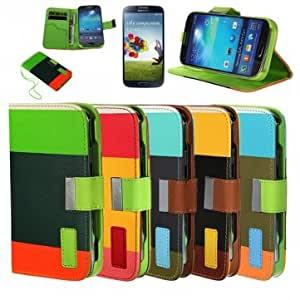 Assorted Color PU Leather Wallet Case For Samsung Galaxy S4 i9500 --- Color:Green+Orange+Dark Green