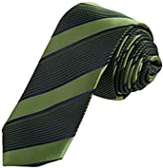 DAE7A.04 Multicolors Stripes Microfiber Skinny Tie For Bridegrooms By Dan Smith