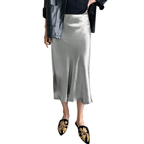 2019 Summer Womens Elegant Retro Dress,Ladies Cool Feel Solid Vintage Long Women's Casual High Waist Pleated Soft Skirt (Gray, XL)