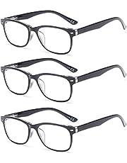 Suertree 3 Pack Anti-Blauwe Leesbrillen, Computer Brillen, Blauw Licht Filterbril, Blokkerende UV-Computerbril, Visuele Leesbrillen, Leesbril Heren Dames Zwart 2.0 BM161