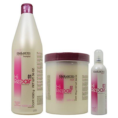 SALERM HI REPAIR LARGE TREATMENT KIT Shampoo 36 oz, Mask 34.4 oz, Finish 3.36