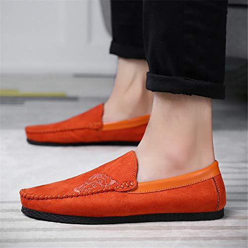 Tobillo Cuero loaferT8811 Hombre DE000 de bajo Naranja SHELAIDON xFqwEpXE